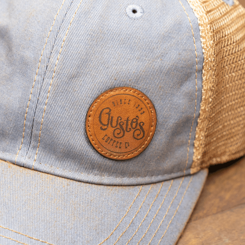 02b Gustos Old Fav Trucker Lt Blue Close up
