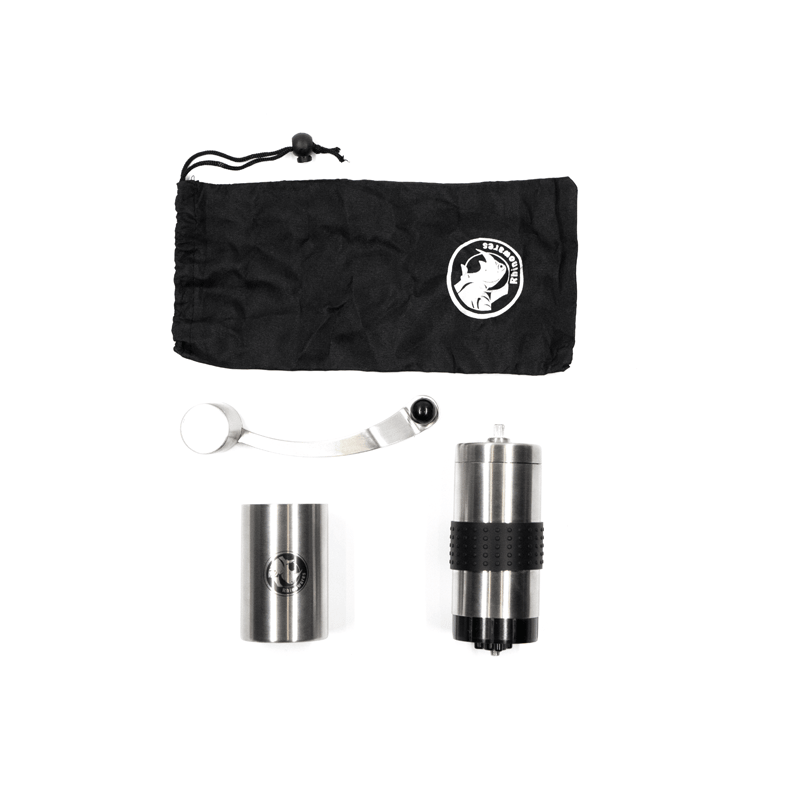 Top view Rhino Coffee Gear Rhinoware Tall hand grinder with accessory set with protective case and ceramic burrs for manual brewing