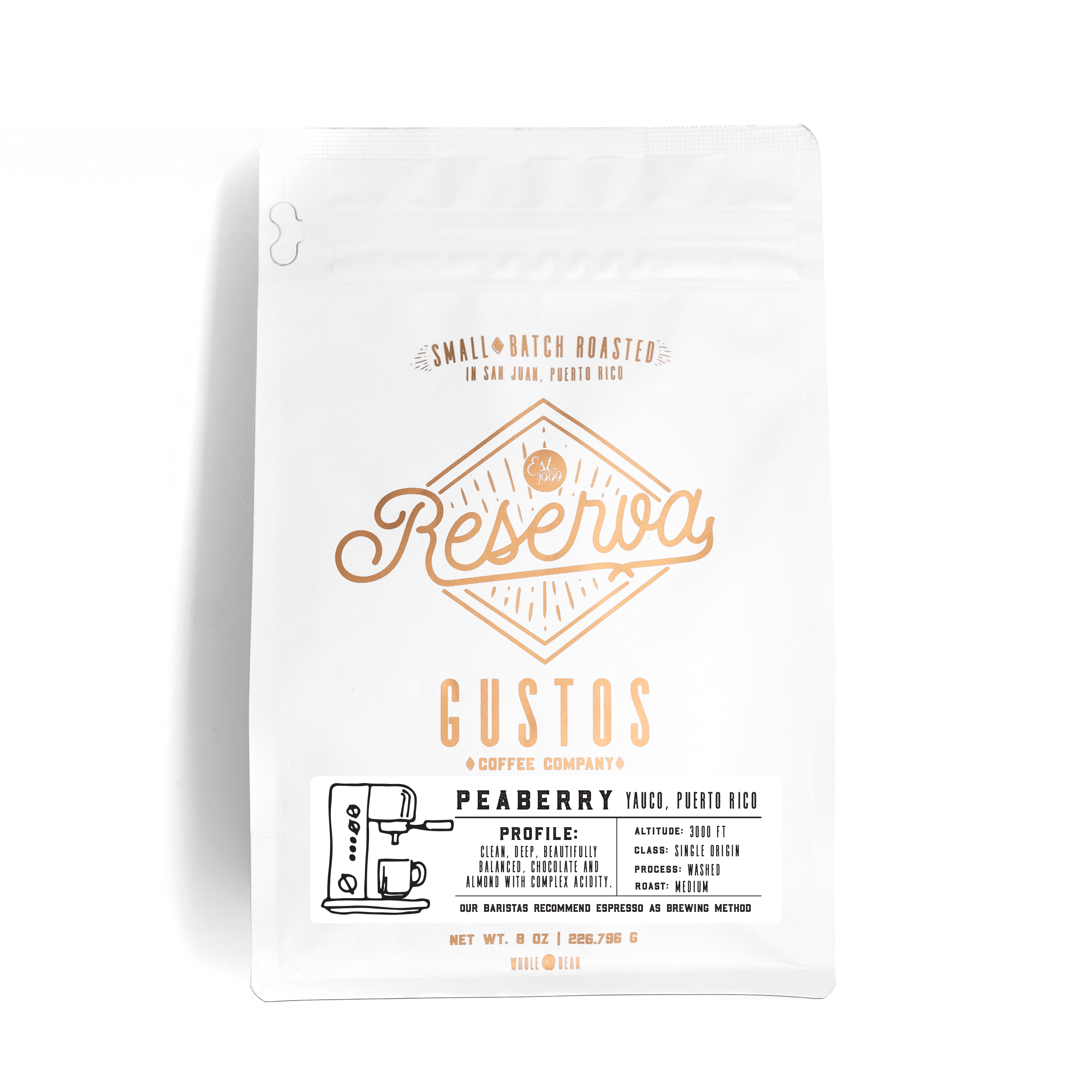 Gustos Reserva 8 oz Peaberry Caracolillo Whole Bean Coffee Puerto Rico