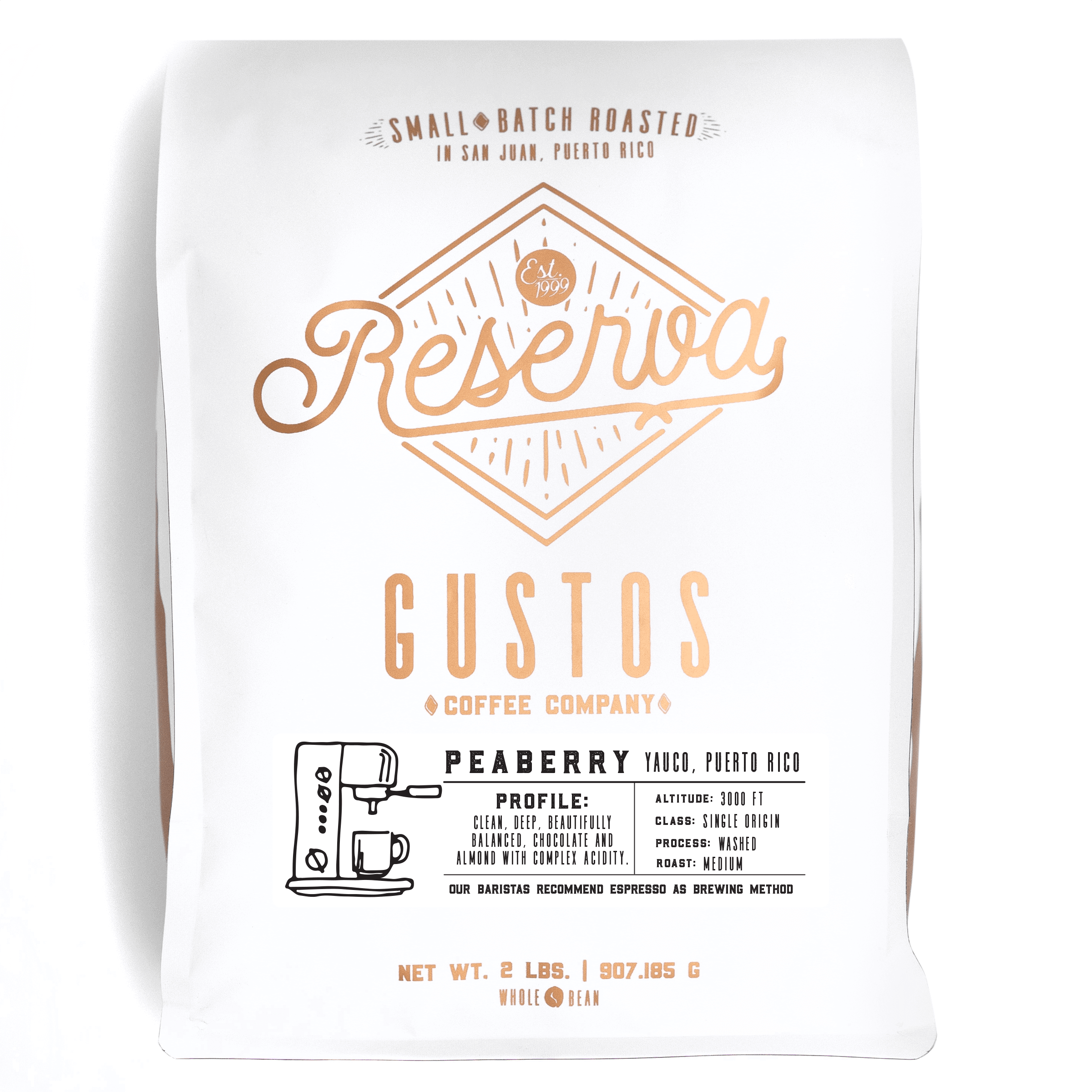 Gustos Reserva 2lbs Peaberry Caracolillo Whole Bean Coffee Puerto Rico