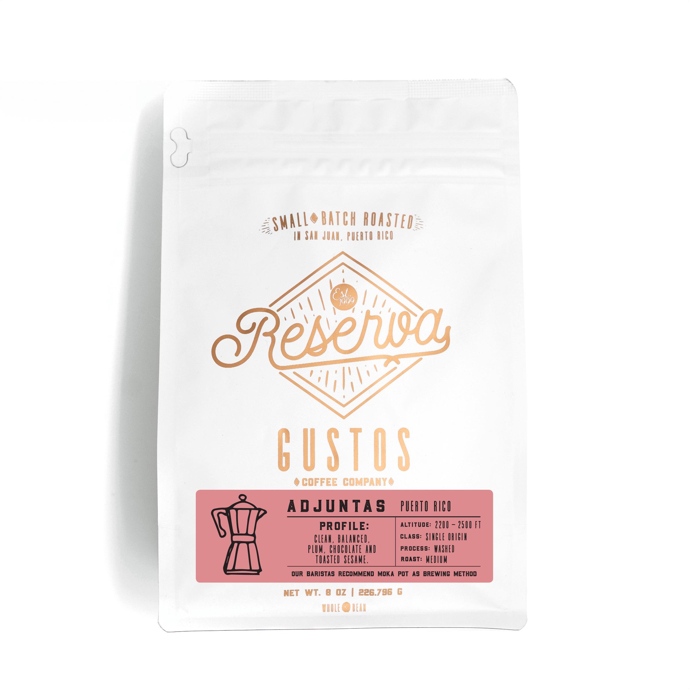 Gustos Reserva Specialty Coffee Single Origin Adjuntas Puerto Rico 8 oz Whole Bean Grano
