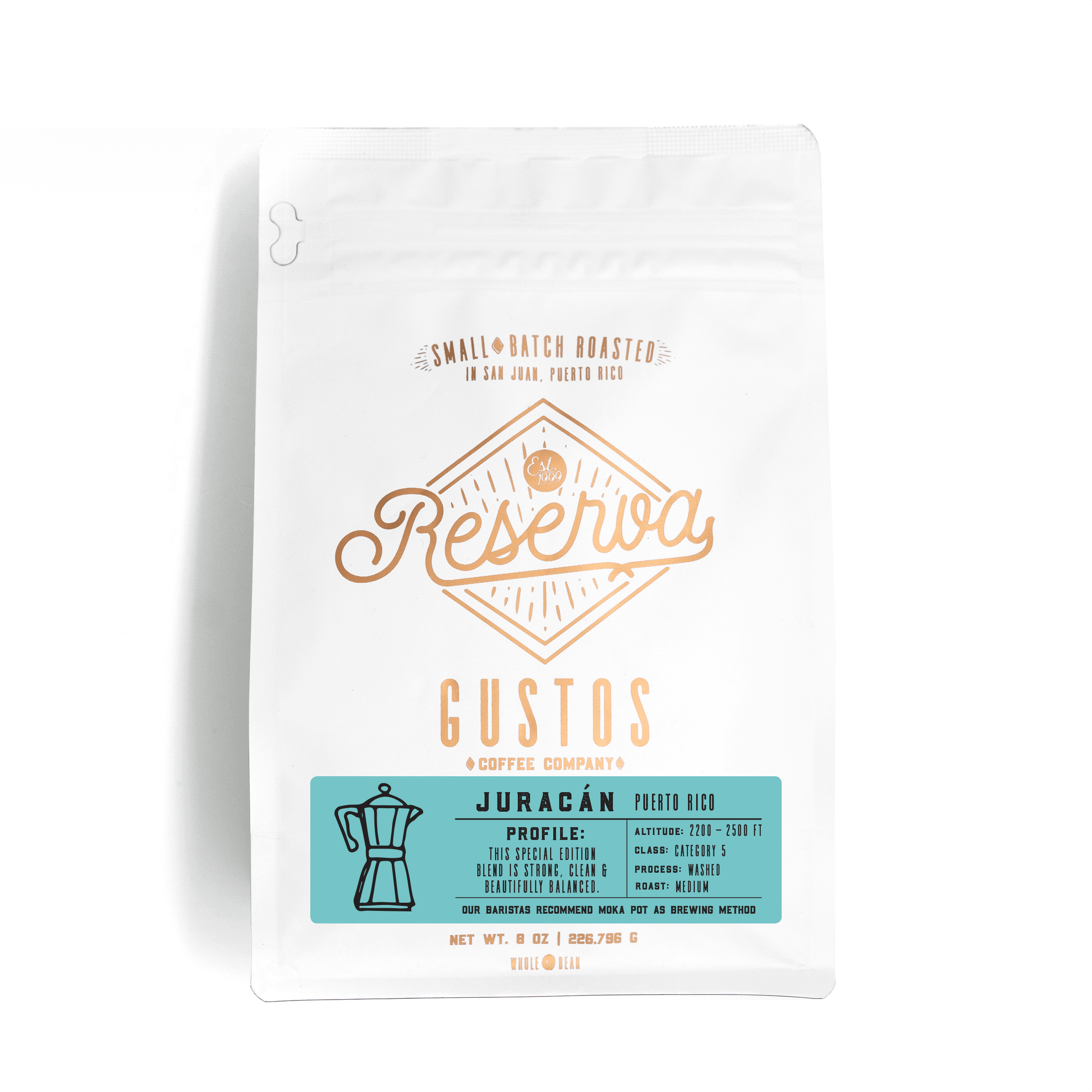 Gustos Reserva Specialty Coffee Single Origin Juracan Puerto Rico 8 oz Whole Bean Grano