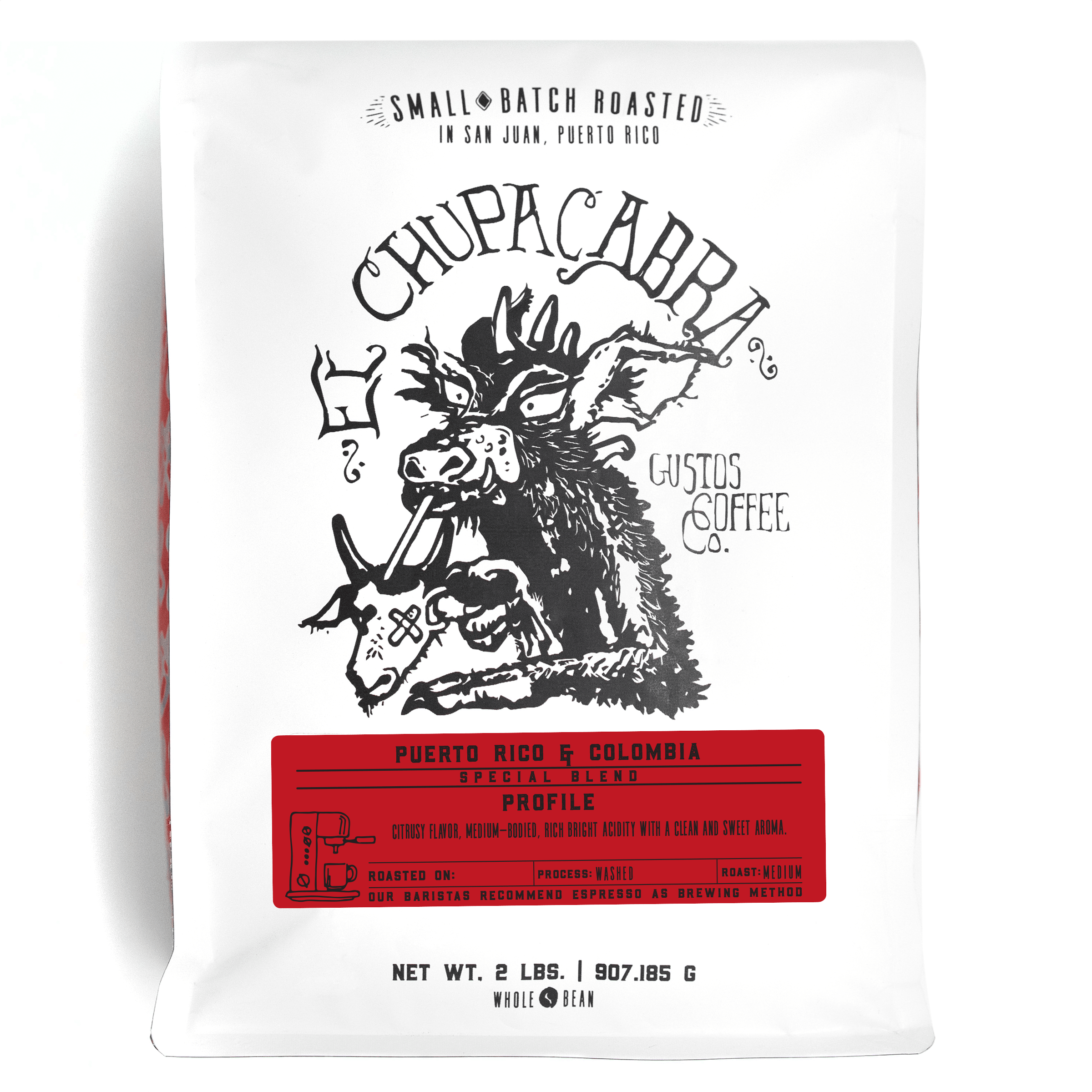 El Chupacabra Specialty Coffee Blend Yauco Puerto Rico x Colombia Gustos Coffee Co