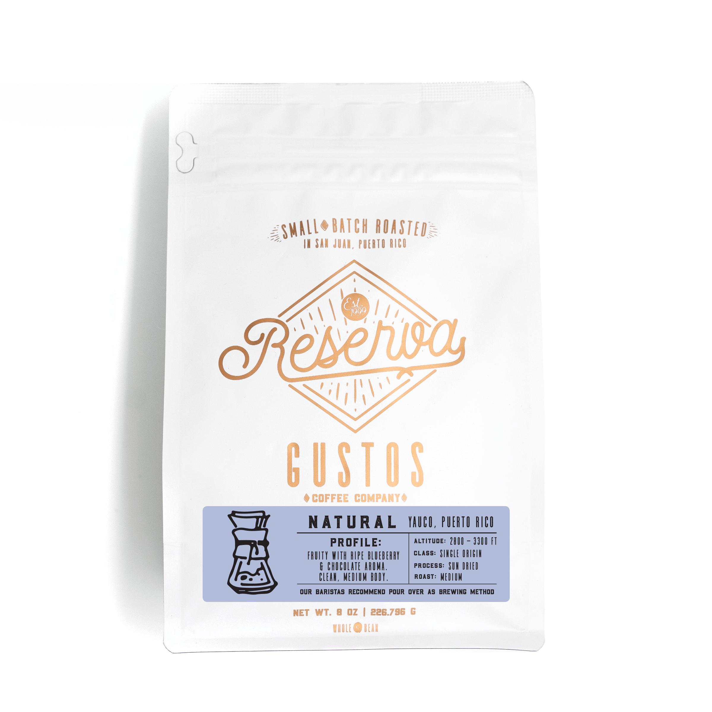 Gustos Reserva Specialty Coffee Single Origin Natural Yauco Puerto Rico 8 oz Whole Bean Grano