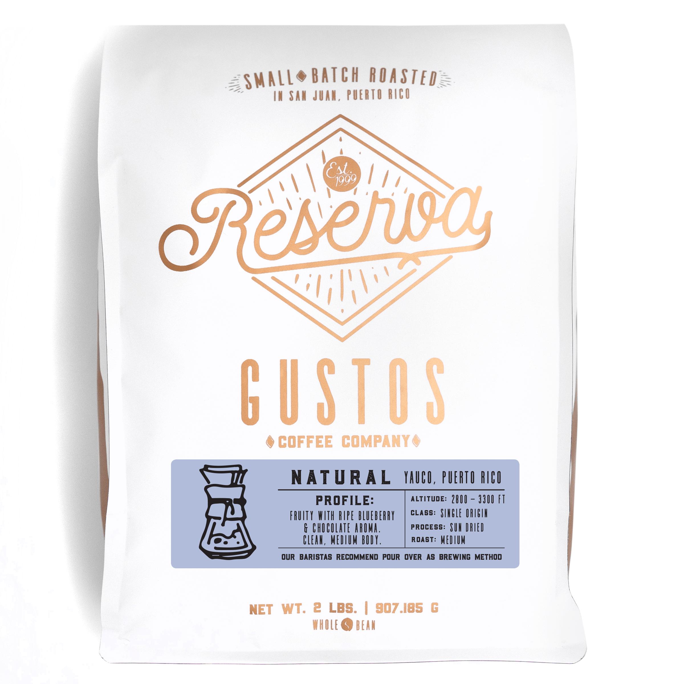 Gustos Reserva Specialty Coffee Single Origin Natural Yauco Puerto Rico 2 lbs Whole Bean Grano