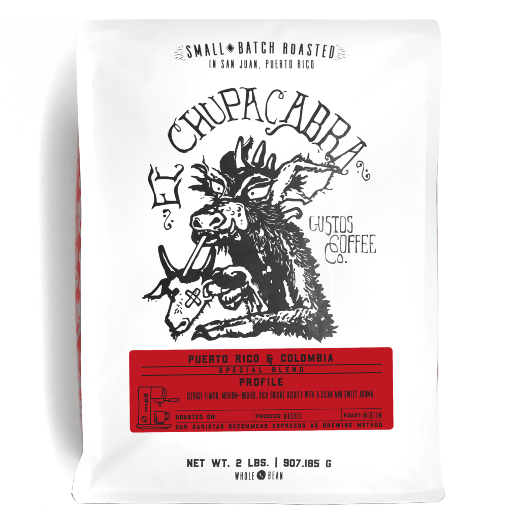 Gustos El Chupacabra Café 2lbs Whole Bean Grano cafe Puerto Rico Colombia