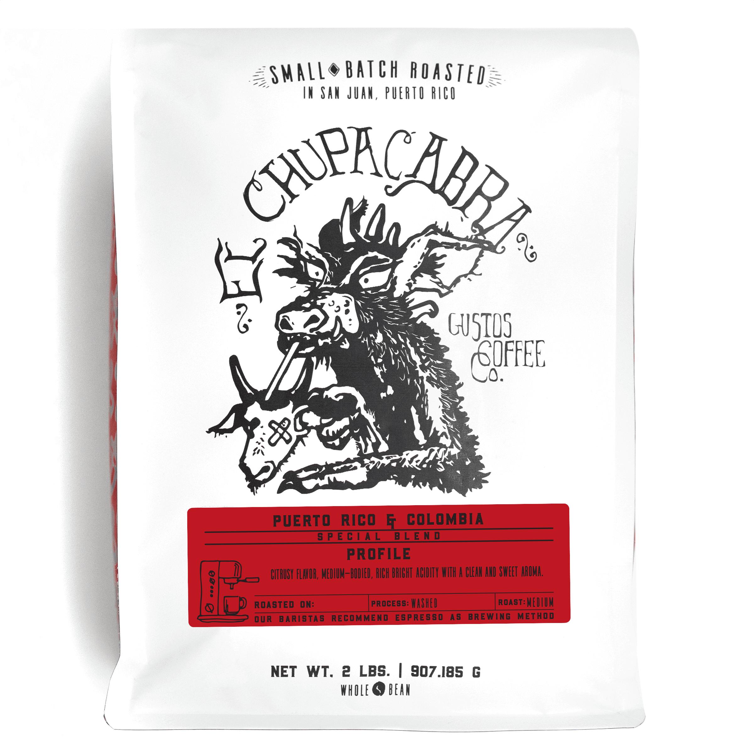 Gustos El Chupacabra Café 2lbs Whole Bean Puerto Rico Colombia