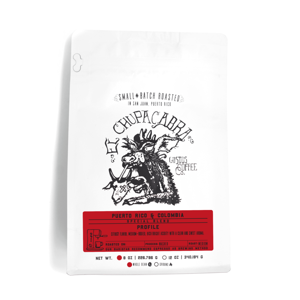 El Chupacabra café Yauco Puerto Rico Specialty Coffee and Colombia 8oz Grano