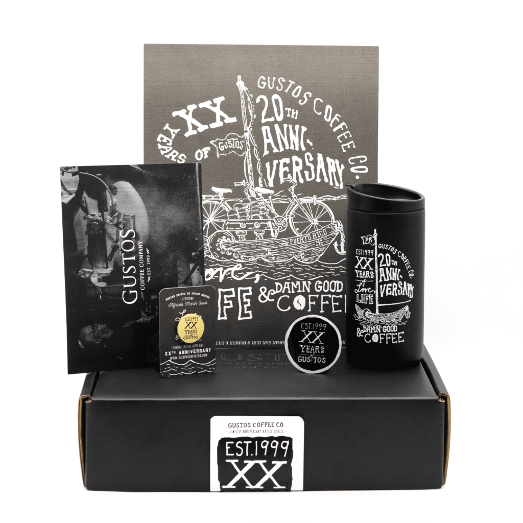 Gustos Coffee Co. Anniversary Boxset Items Black Poster Variant