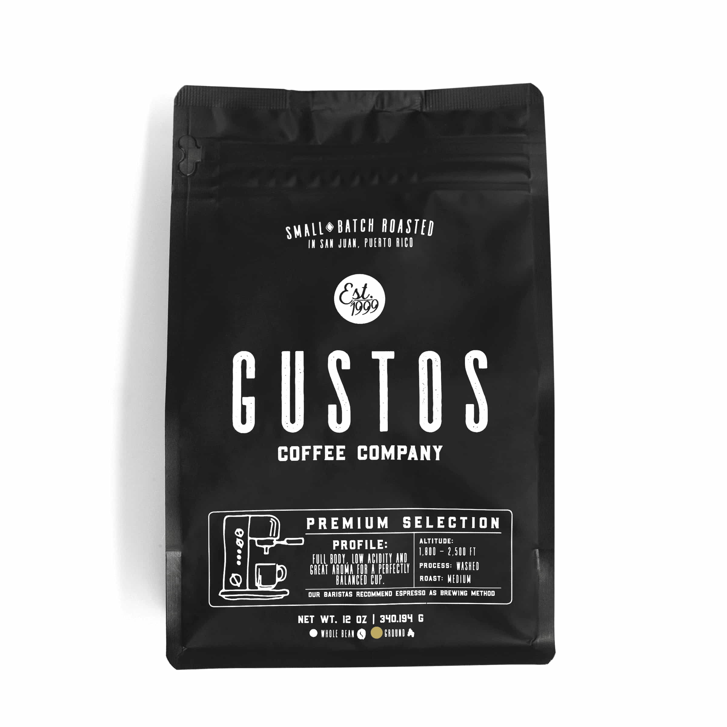 12 oz bag of Premium Gourmet Fresh Ground Coffee of the Vatican, popes and Kings Yauco PR single origin by Gustos Coffee Co
