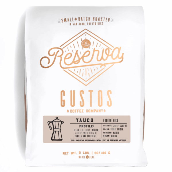 A 2lb bag of Specialty Coffee from Yauco Puerto Rico by Gustos Coffee Co Café