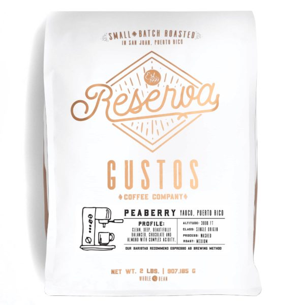 2lb bag of Peaberry Caracolillo Specialty Coffee from Yauco PR by Gustos Coffee Co