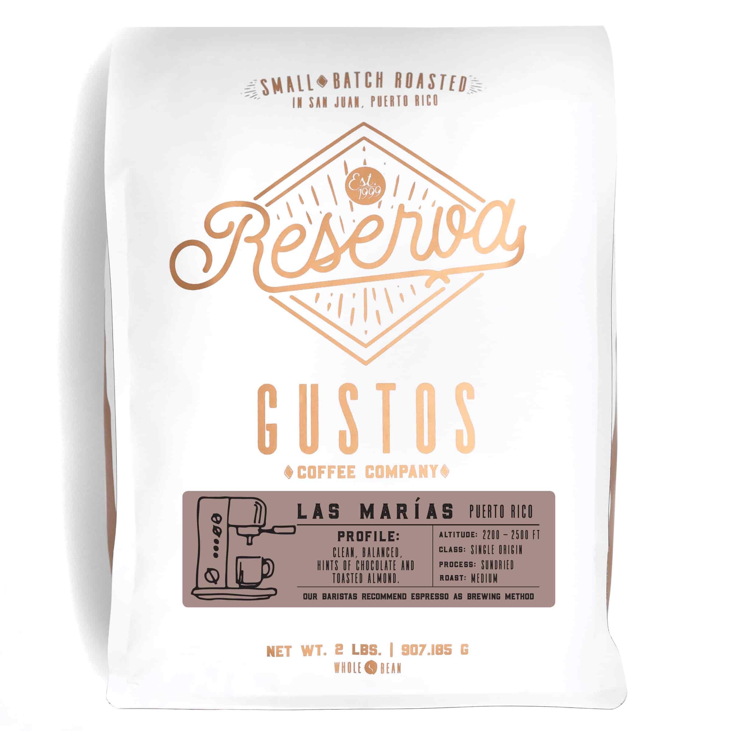 A 2lb bag of Specialty Coffee from Las Marias PR by Gustos Coffee Co