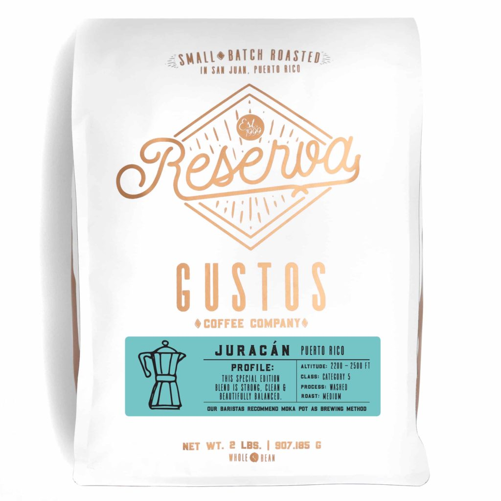 A 2lb bag of Specialty Coffee from PR Juracán by Gustos Coffee Co