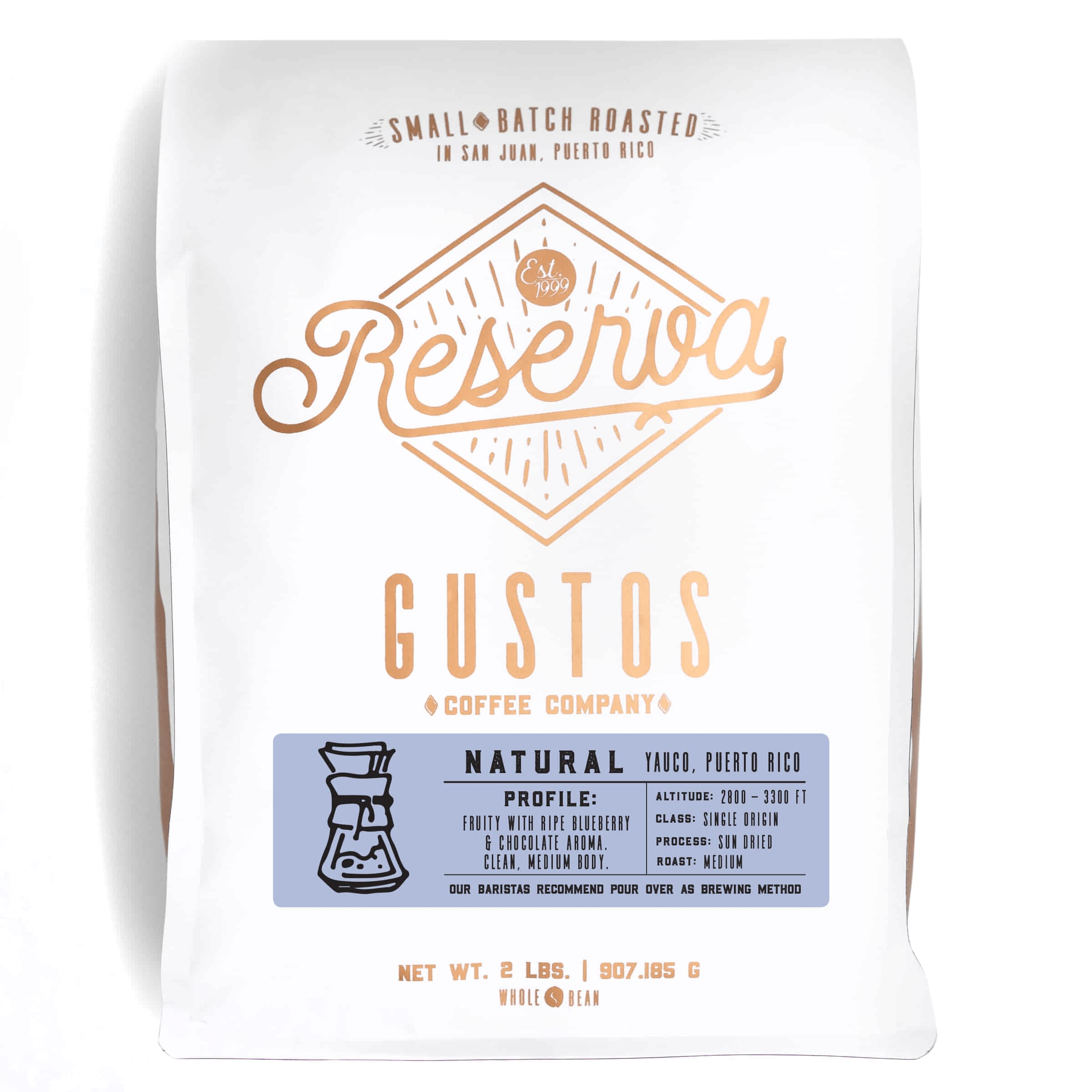 2lb bag of Specialty Coffee Natural Process Cafe Yauco PR single origin by Gustos Coffee Co
