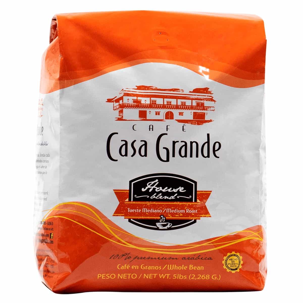 Bolsa de Cafe de cinco libras Casa Grande House Blend Authentic Boricua Premium Café de Puerto Rico