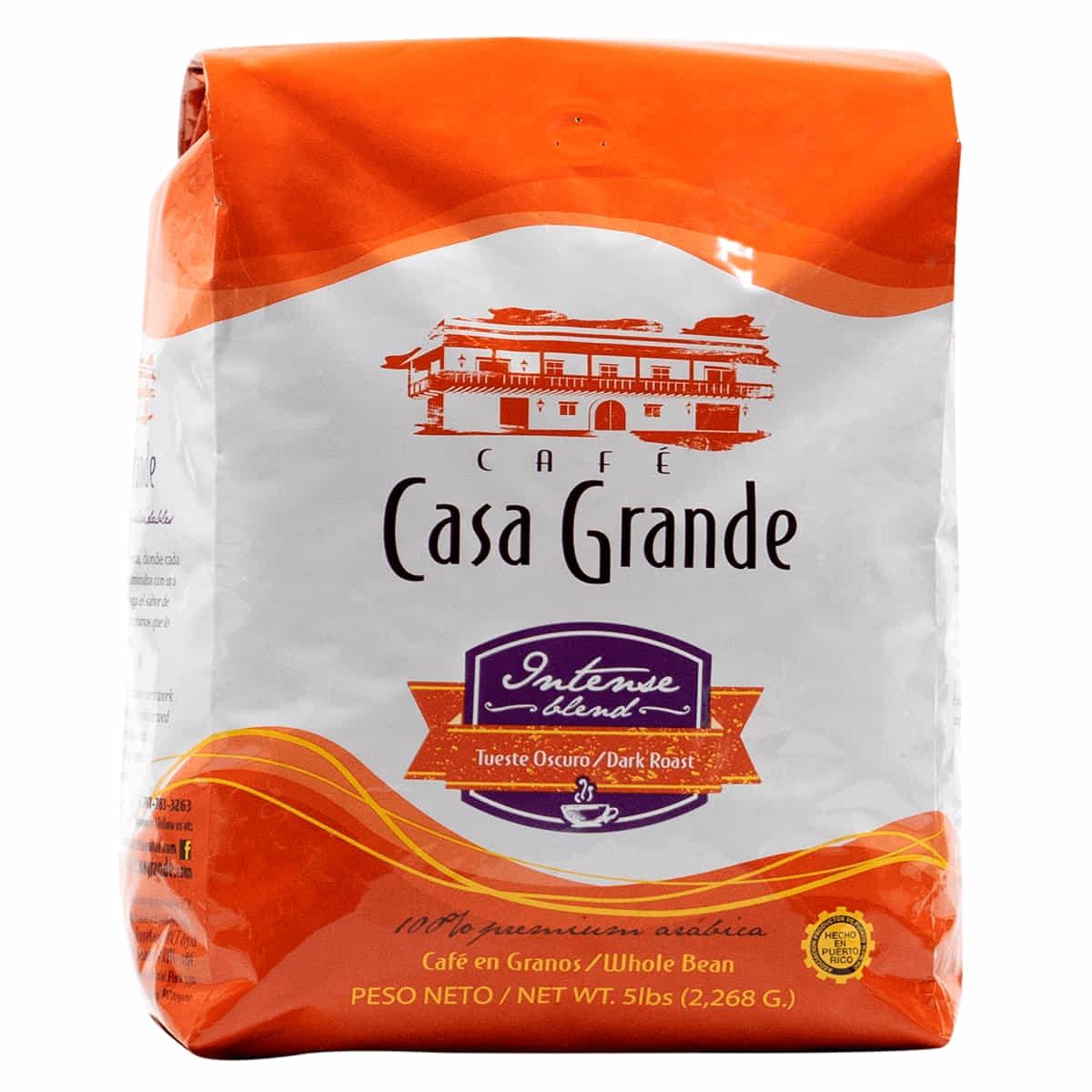 Bolsa de Cafe de cinco libras Casa Grande Intense Blend Authentic Boricua Premium Café de Puerto Rico