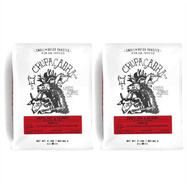 Two 2lb El Chupacabra Colombia Specialty Coffee and Café de Puerto Rico