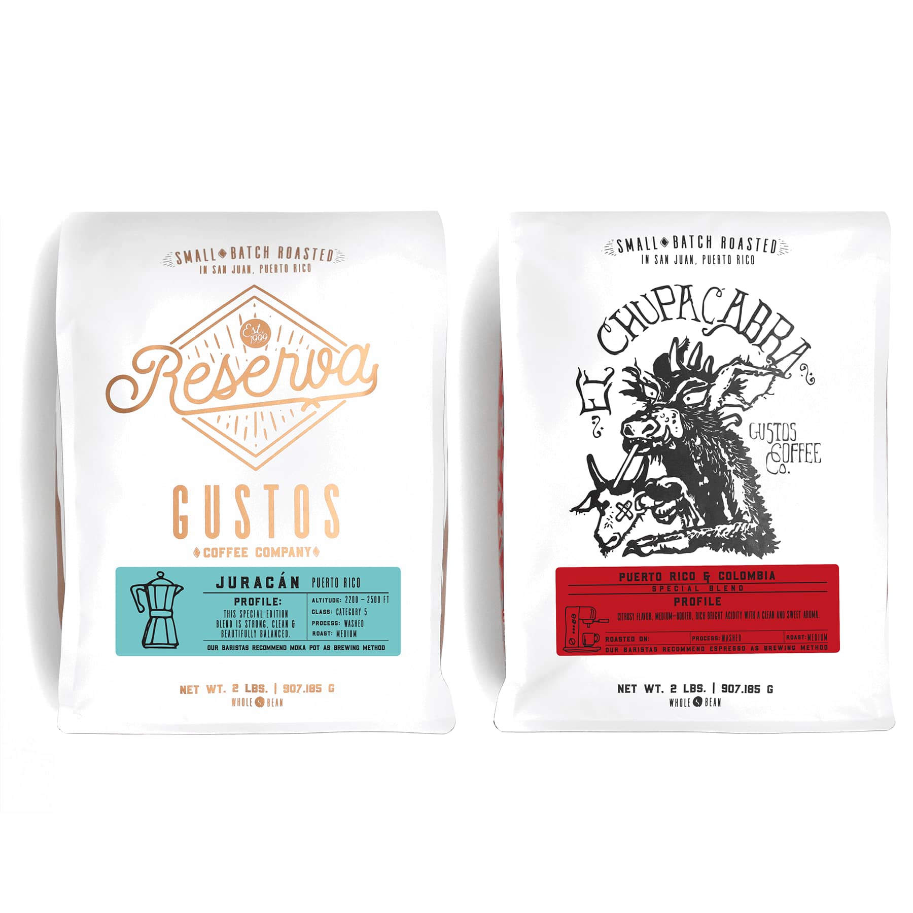 2lb Coffee Gustos Café Specialty Duo El Chupacabra Reserva Juracán Gourmet for cafeteria local cafe of popes and kings