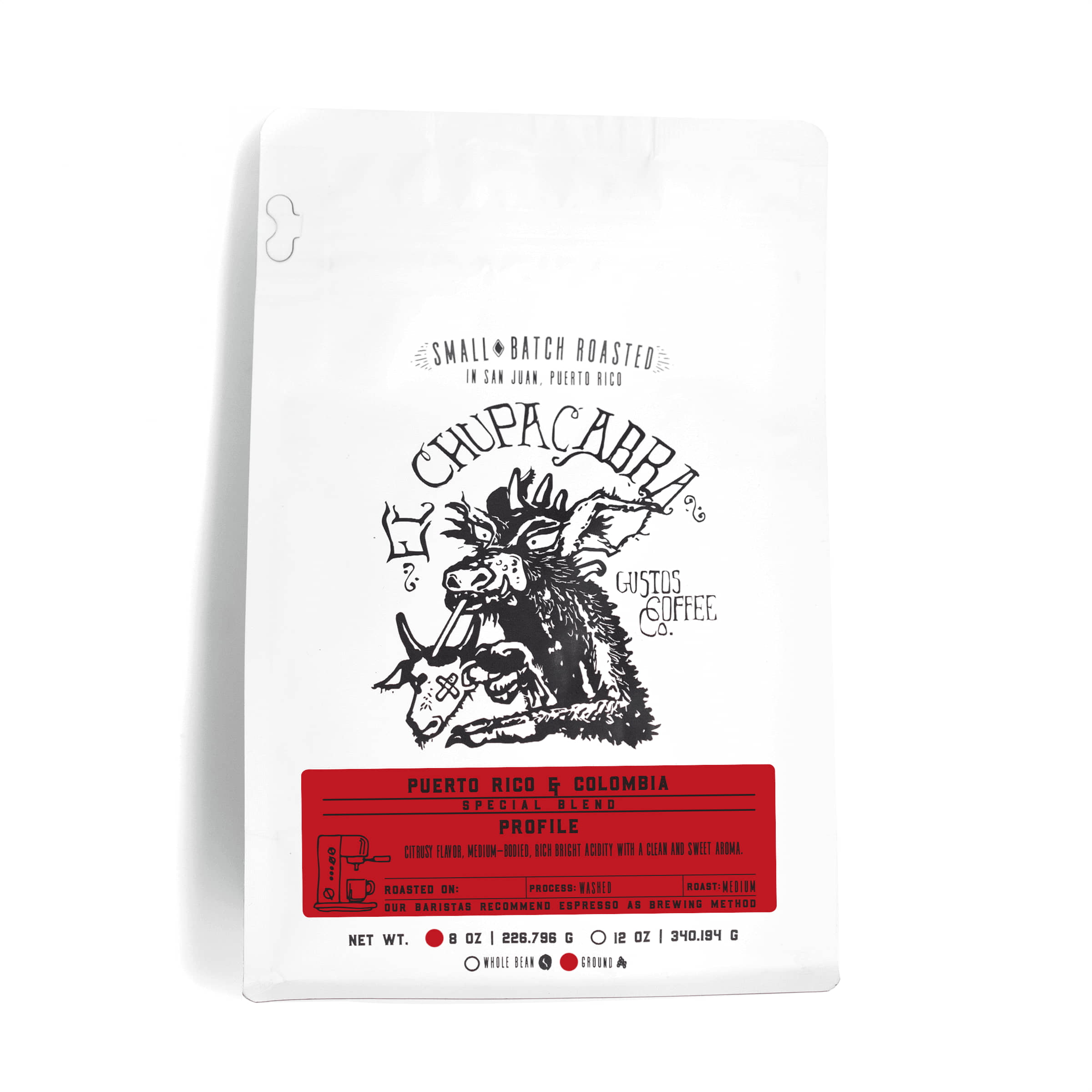 8oz Bag of Fresh Ground Specialty Coffee El Chupacabra Colombia and PR Gustos Café
