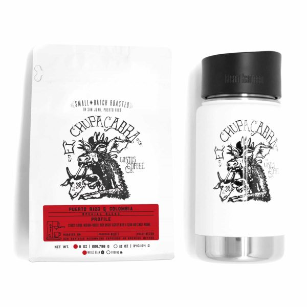 A coffee bag and vacuum insulated canteen by Klean Kanteen and El Chupacabra Specialty Coffee Colombia and Puerto Rico Mug bundle