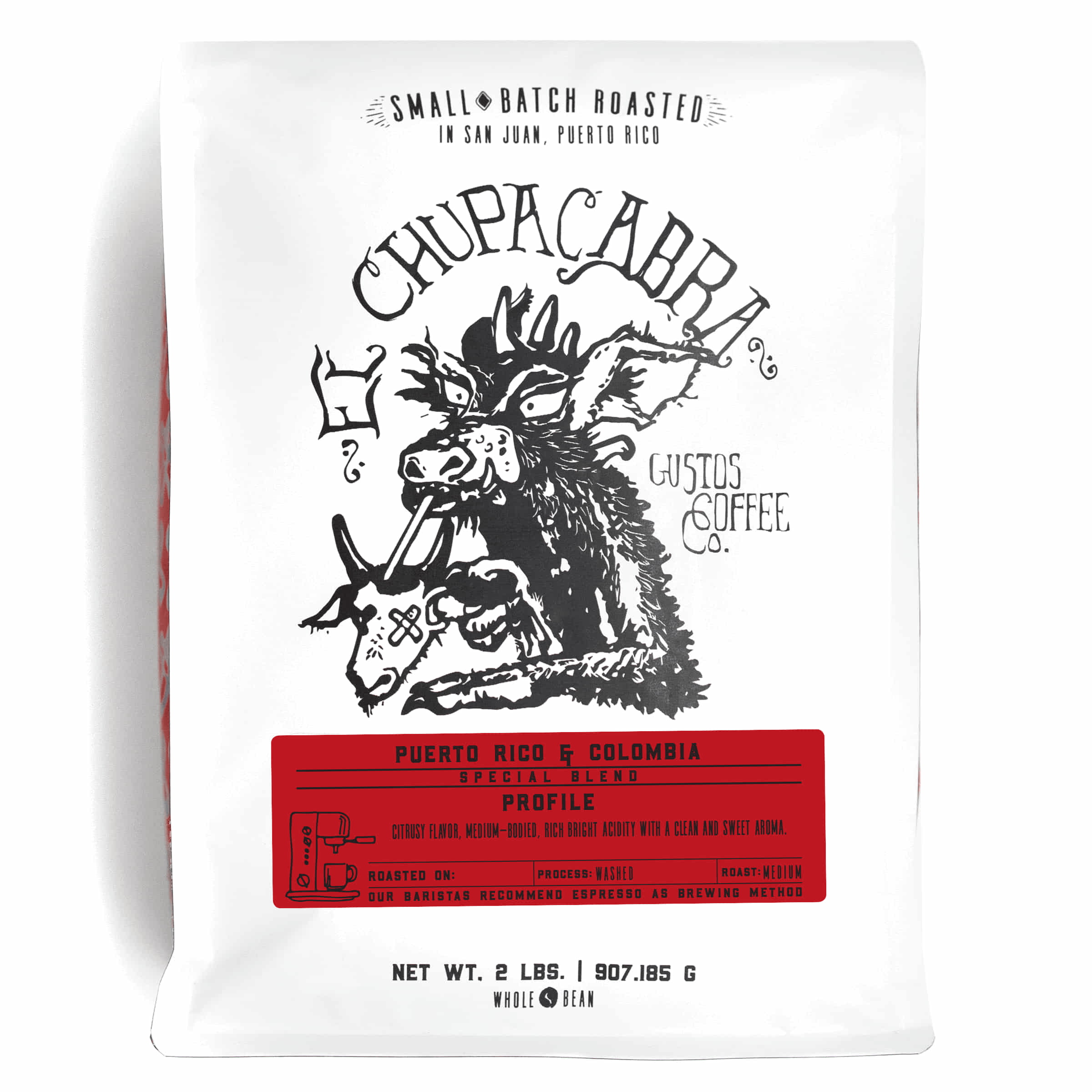 A 2lb bag of Specialty Coffee Blend Puerto Rico and Colombia El Chupacabra by Gustos Coffee Co