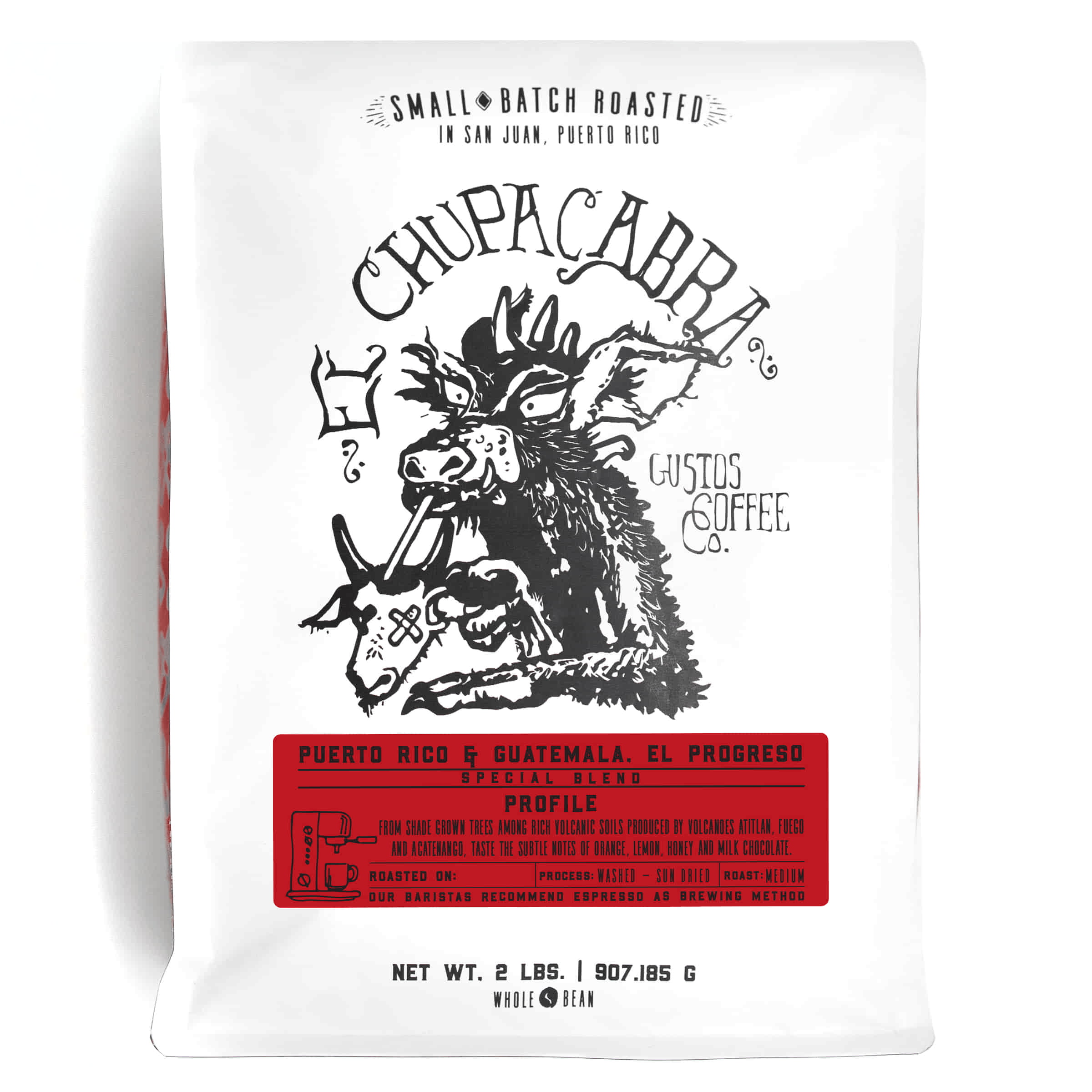 A 2lb bag of Specialty Coffee Blend Puerto Rico and Guatemala Finca El Progreso El Chupacabra by Gustos Coffee Co