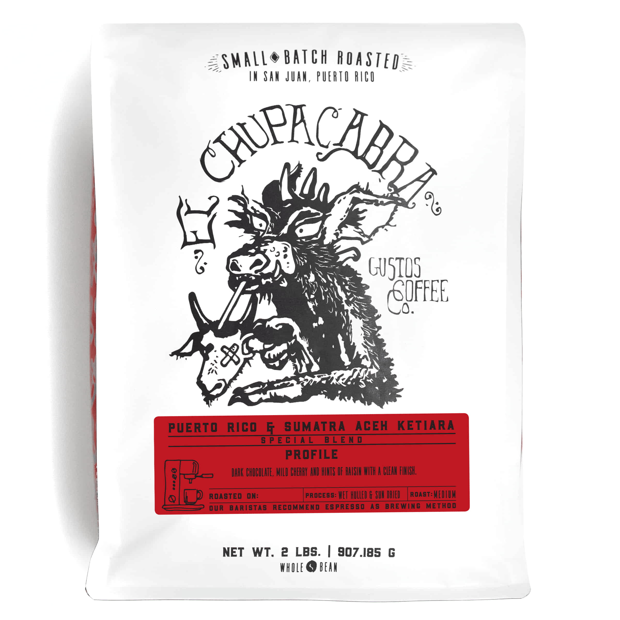 A 2lb bag of Specialty Coffee Blend Puerto Rico andSumatra Aceh Ketiara El Chupacabra by Gustos Coffee Co