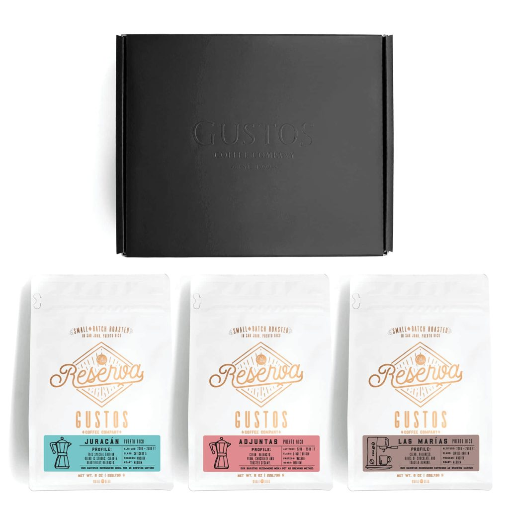 Coffee Box set with three Single Origin Specialty bags from Gustos Café city of Adjuntas Las Marías and Juracán blend PR fit for the Vatican and Kings