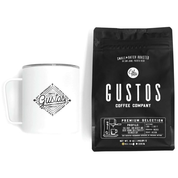 Miir Vacuum Insulated Camp Cup by Gustos café and a bag of Premium selection gourmet coffee fit for the Vatican and kings