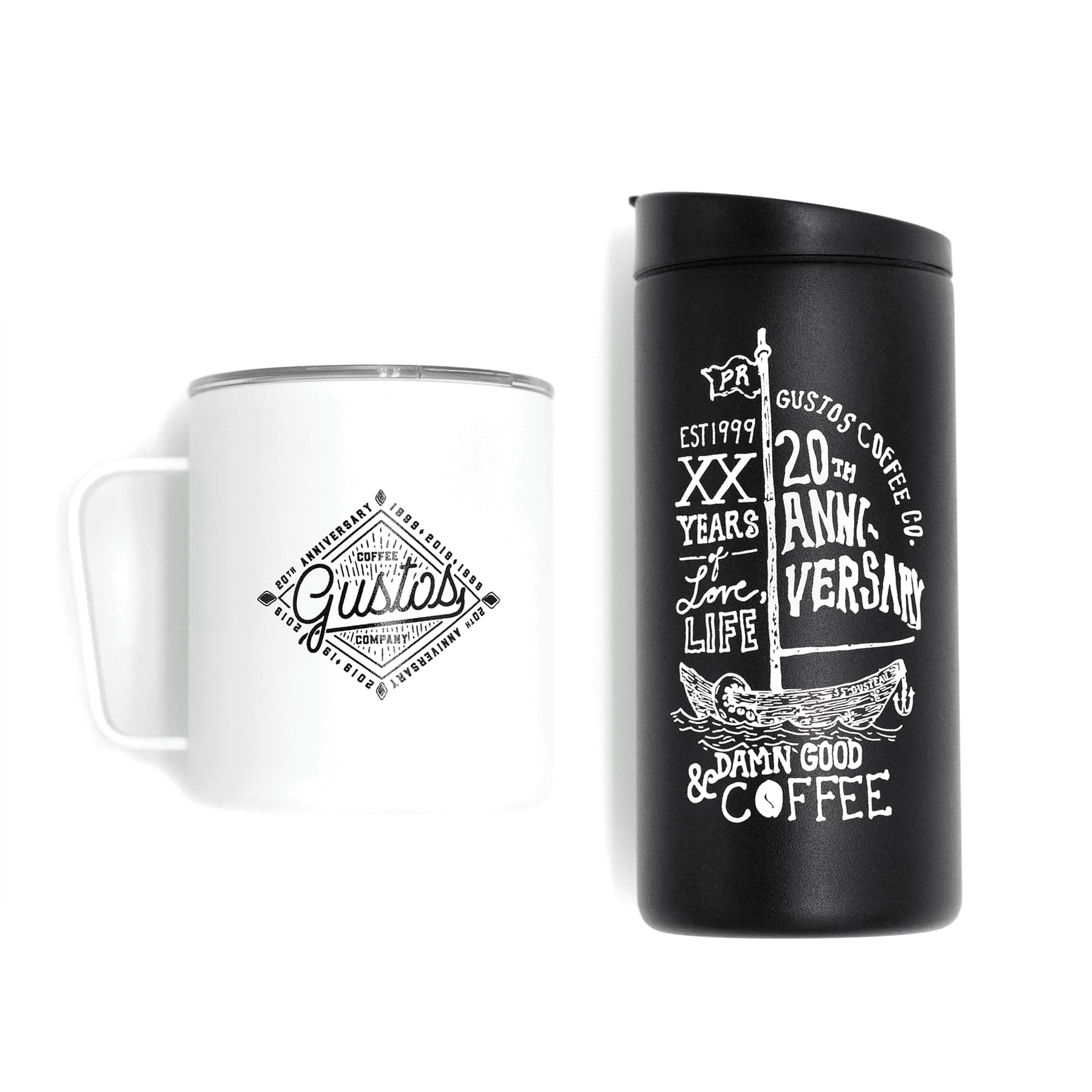 Matte White MiiR camp cup and a matte black miir 12 oz tumbler gift set duo Gustos Cafe Specialty Coffee Puerto Rico Keep your coffee fresh and warm