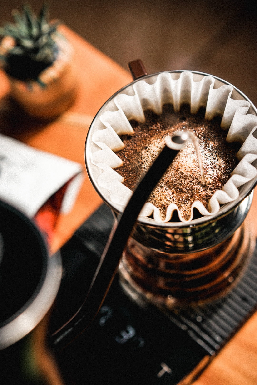 image of a Manual Pour Over Brew with a Fellow Stagg Kettle, a Kalita Wave with Specialty Coffee from Colombia PR on an Acaia scale