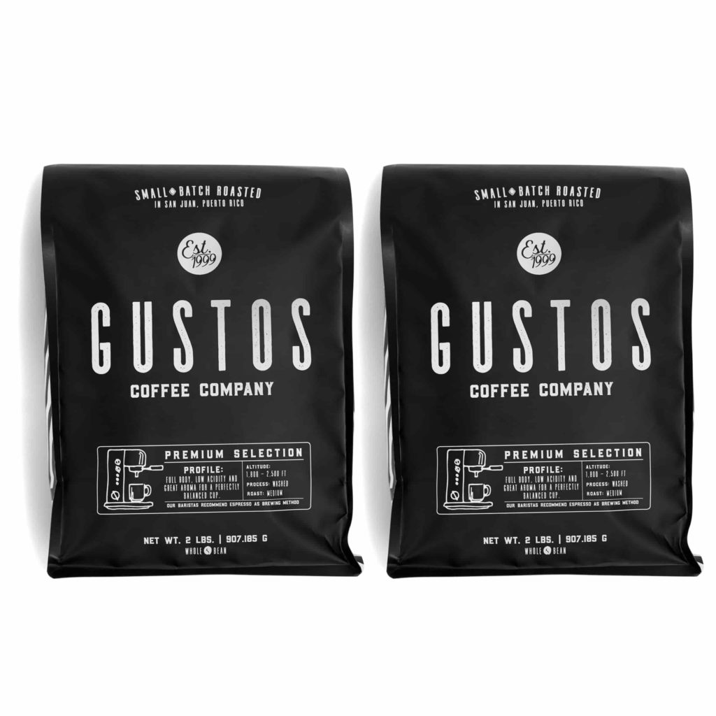 Two 2lb Coffee Bags from Gustos Café Premium Selection Whole Bean Side by side