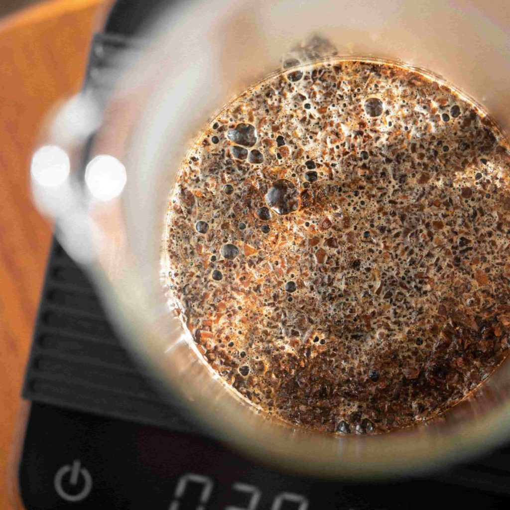 Fresh Coffee Bloom in a Bodum Classic French Press on top of a Acaia scale