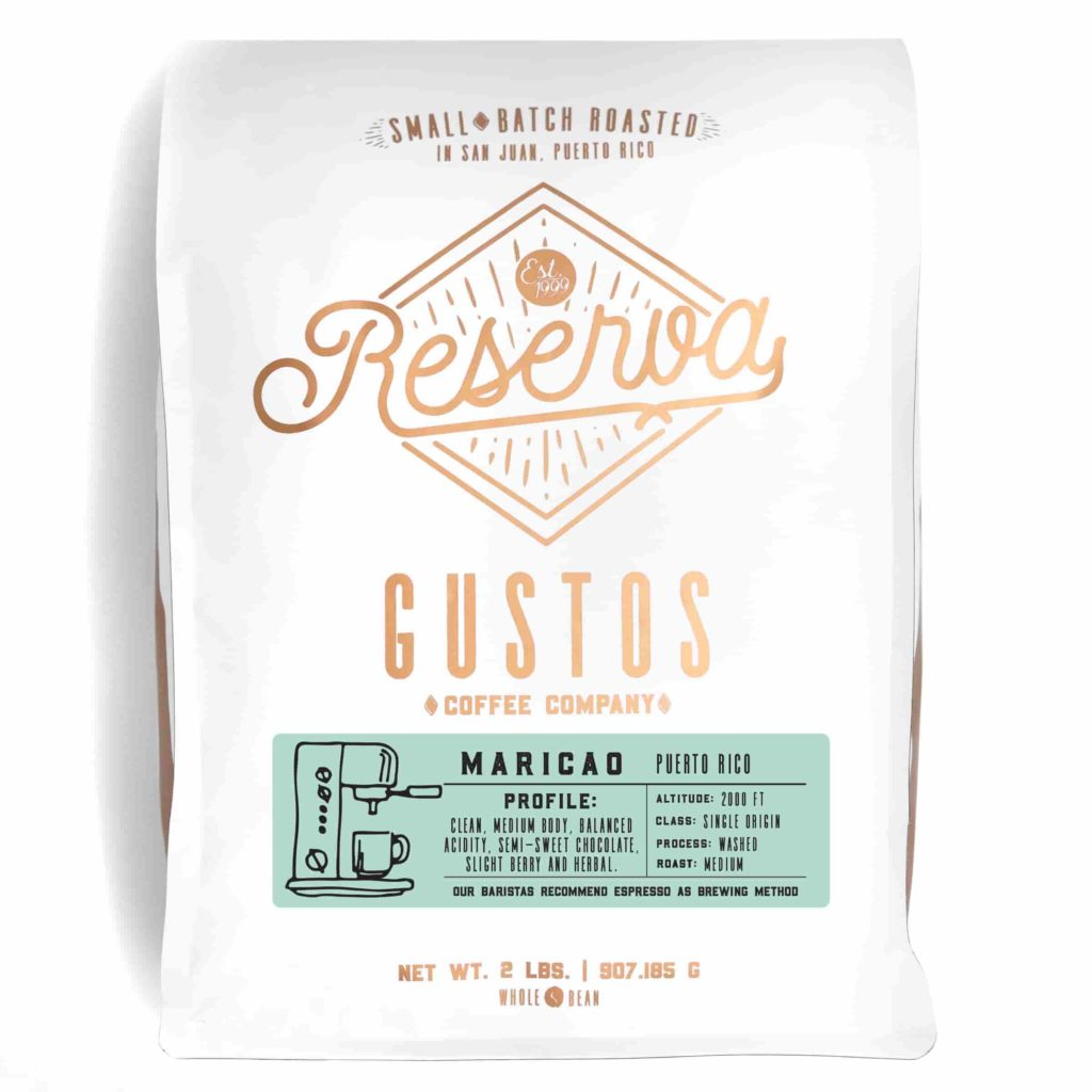 A bag of specialty roasted coffee Gustos Reserva from Maricao, Puerto Rico 2lb whole bean