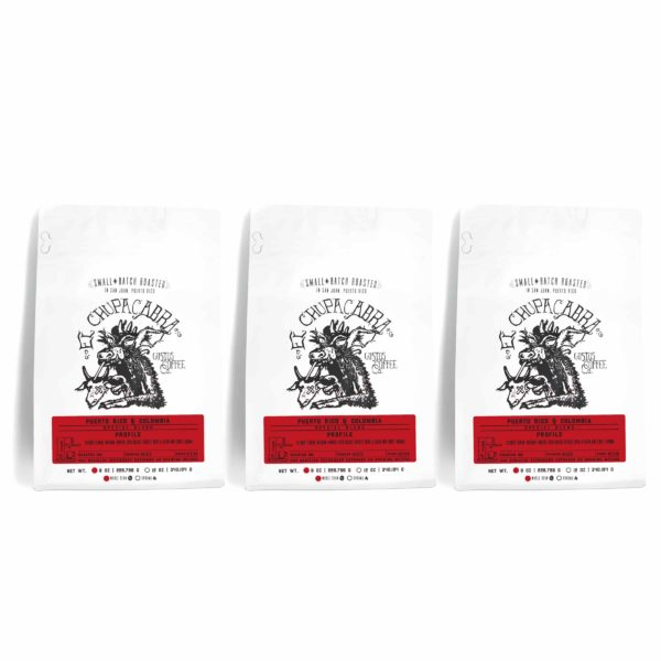 Three 8 oz bags of Specialty Coffee blends side by side from Gustos Coffee Co PR blended with Colombia