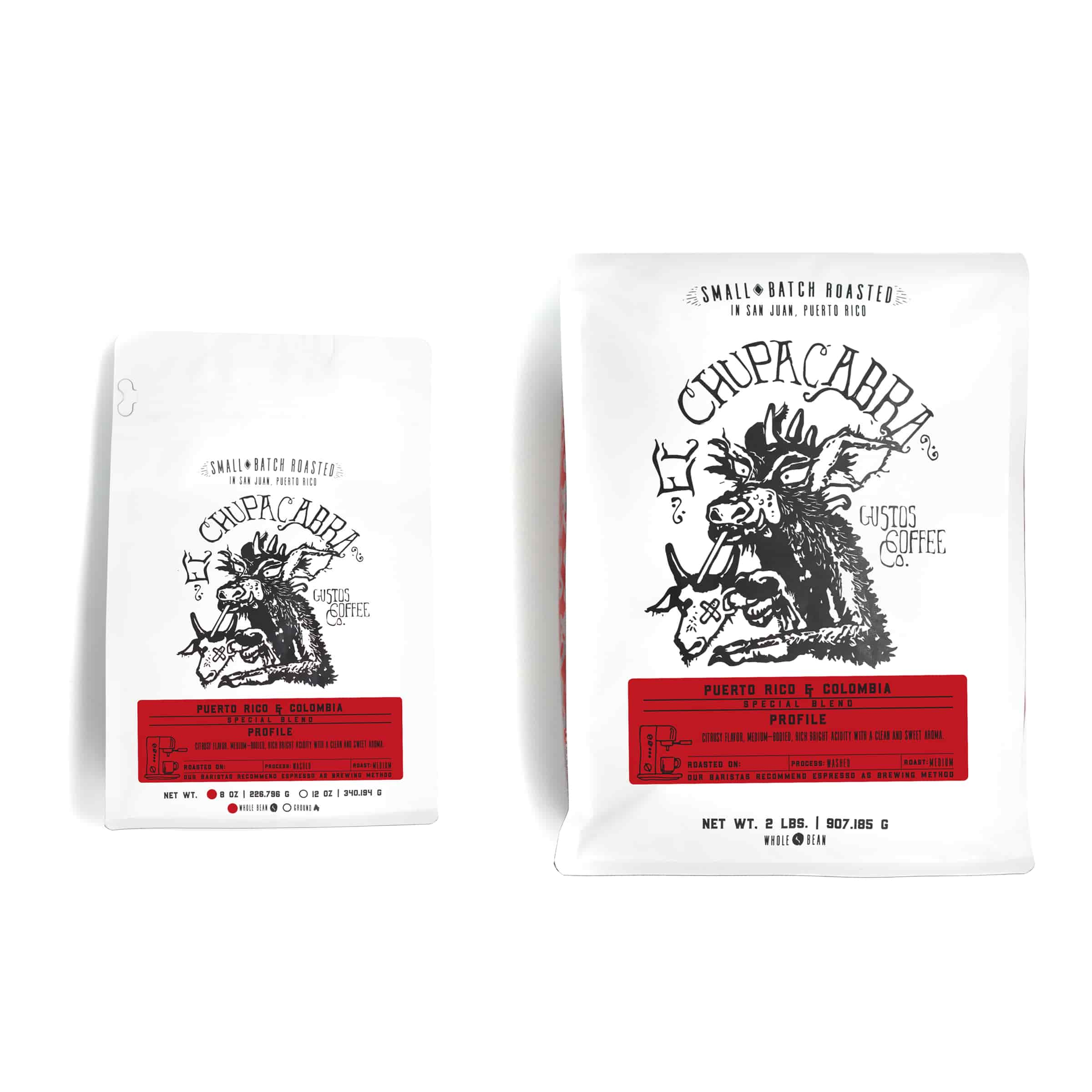 Two special coffee blends side by side over a white background. El Chupacabra PR x Colombia Specialty coffee from Gustos Coffee co