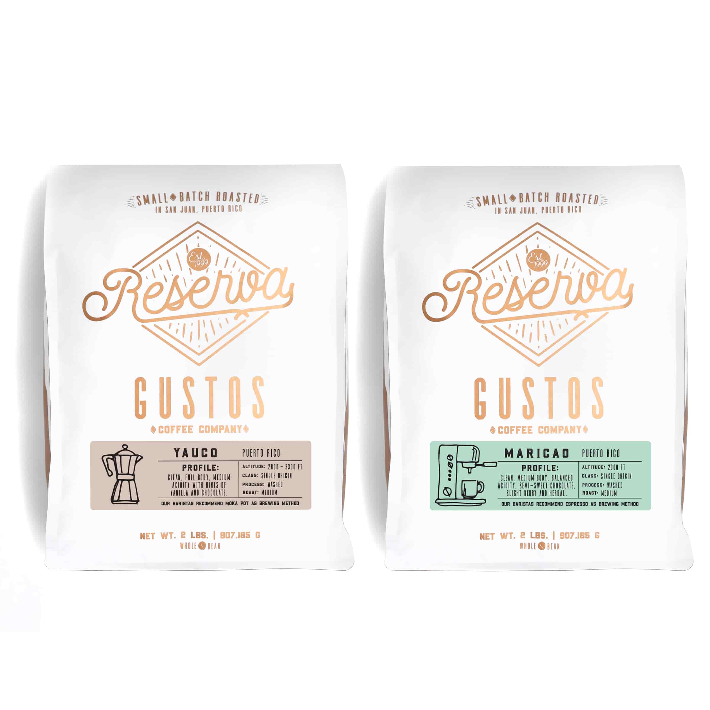 Two 2lb Specialty Coffee bags side by side, from Gustos Coffee Co, Single Origin Yauco, and Maricao PR