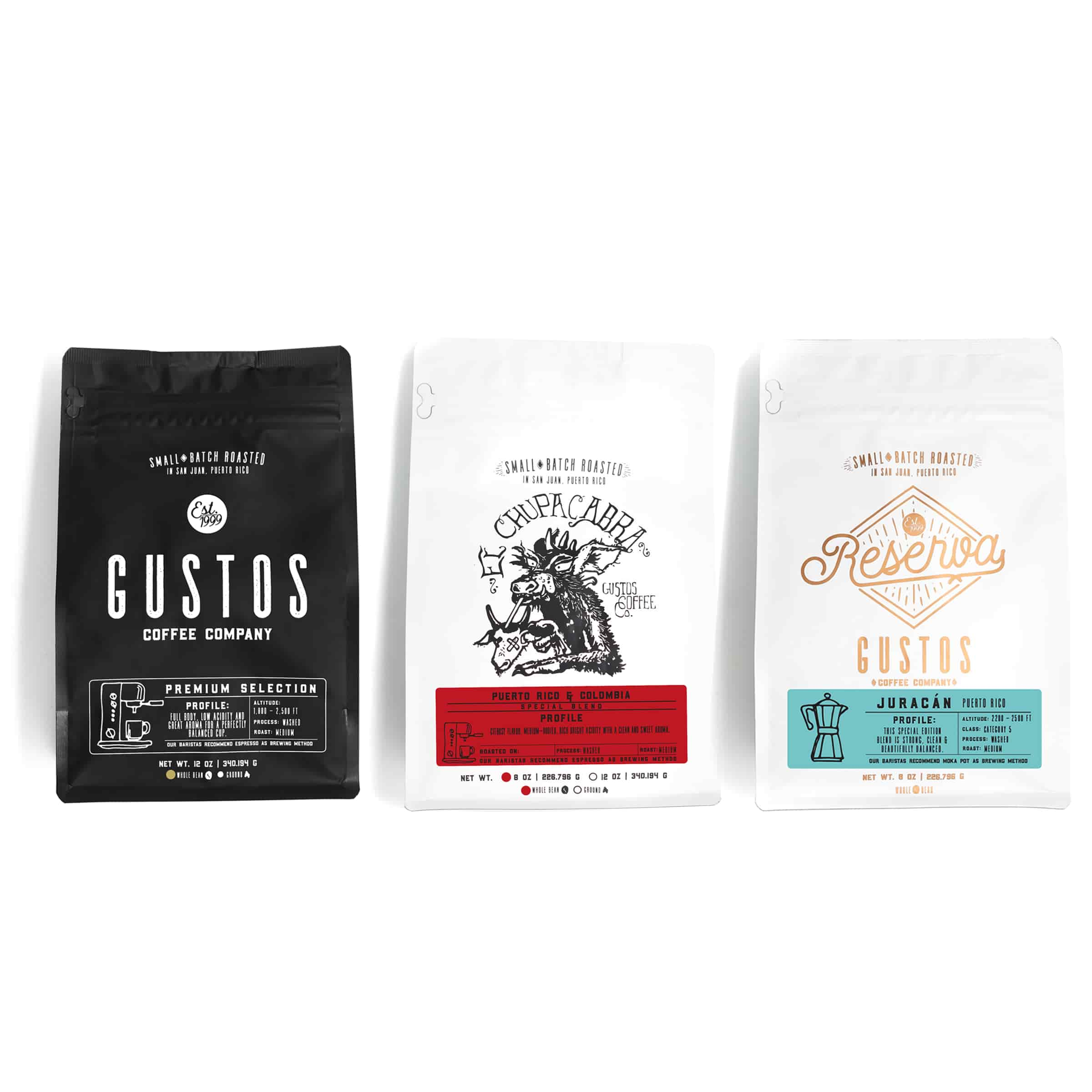 three mixed size bags side by side of Special Coffee From Gustos Coffee Co Café from Puerto Rico. Regions shown: Premium Selection, Yauco, El Chupacabra and Reserva Juracán blend