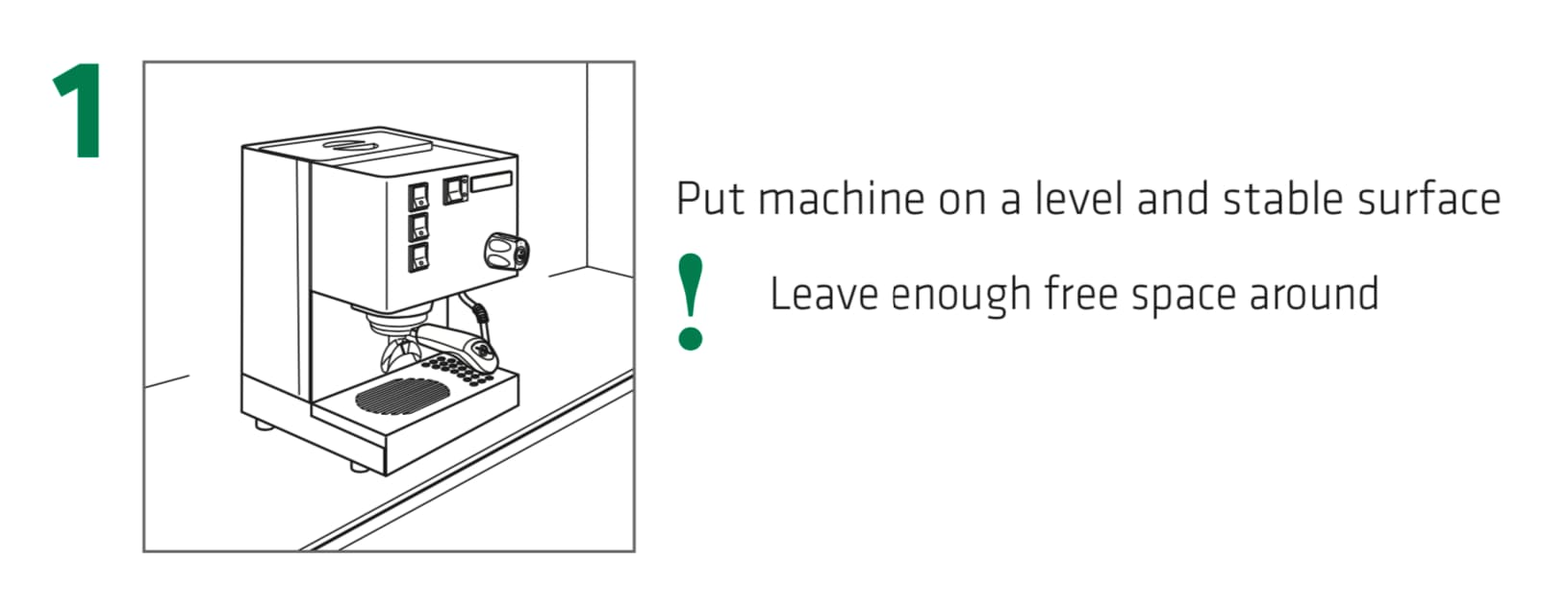 How to set up the Rancilio Silvia Espresso Machine, Step 1: Put machine on a level and stable surface, leave enough free space around.