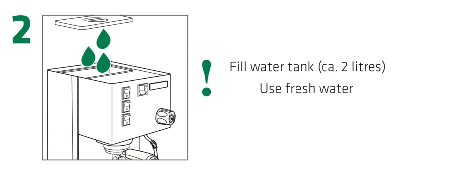 How to set up the Rancilio Silvia Espresso Machine, Step 2 : Fill the water reservoir tank ( 2 liters ) Use fresh water.