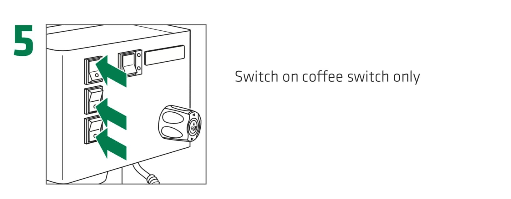 How to set up the Rancilio Silvia Espresso Machine, Step 5 : Switch on coffee switch only , located at the top left corner of the espresso machine.