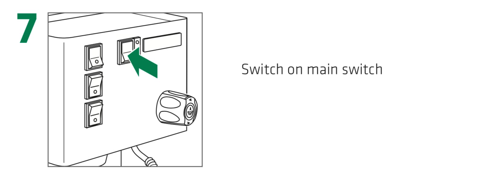 How to set up the Rancilio Silvia Espresso Machine, Step 7 : Switch on the main power switch, located to the center right face of the Silvia espresso machine.