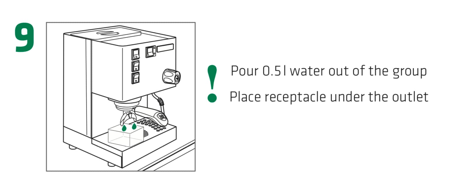 How to set up the Rancilio Silvia Espresso Machine, Step 9 : Pour 0.5L of water out of the main group. Makes sure to place an empty receptacle under the group outlet to catch the water.