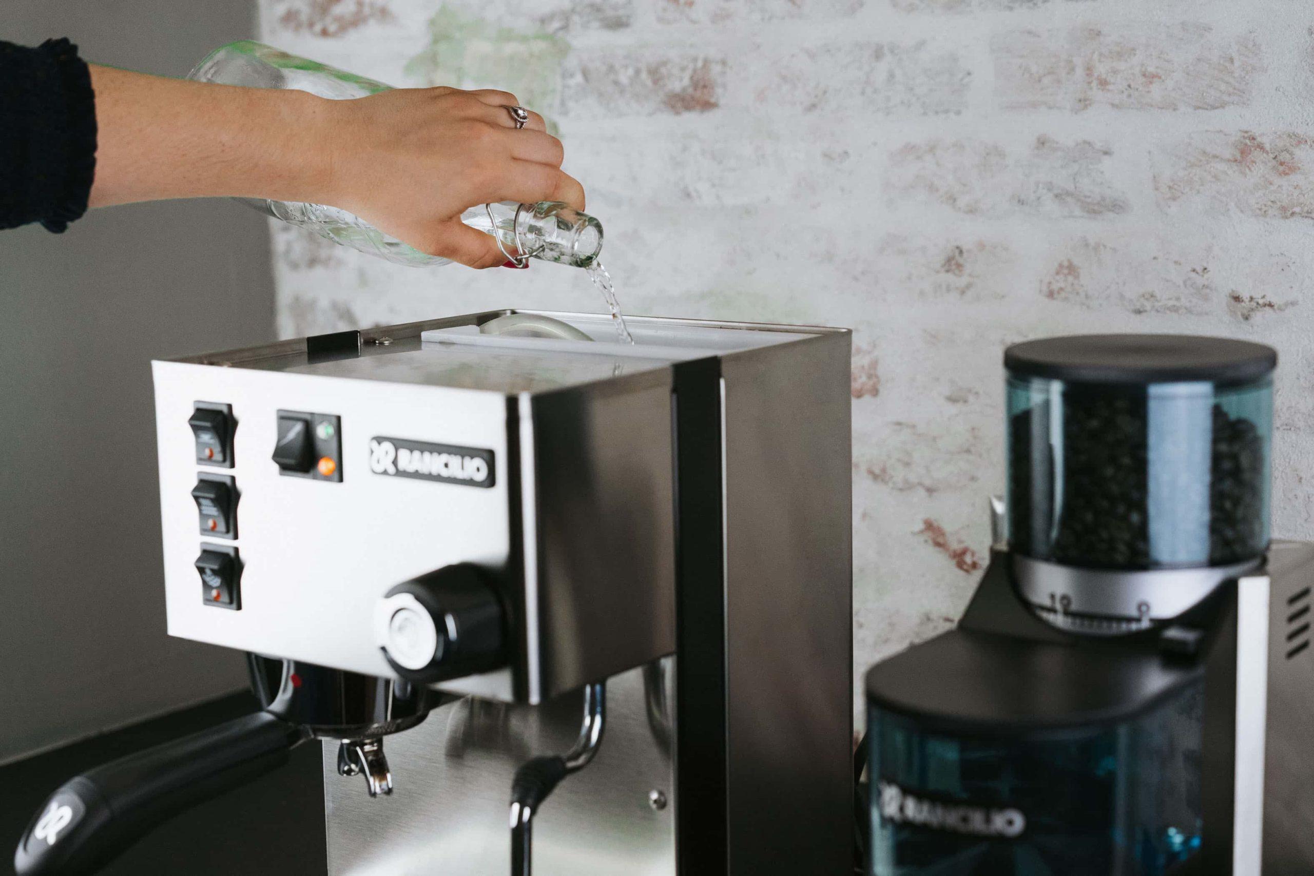 Fill the water tank of the Rancilio Silvia espresso Machine