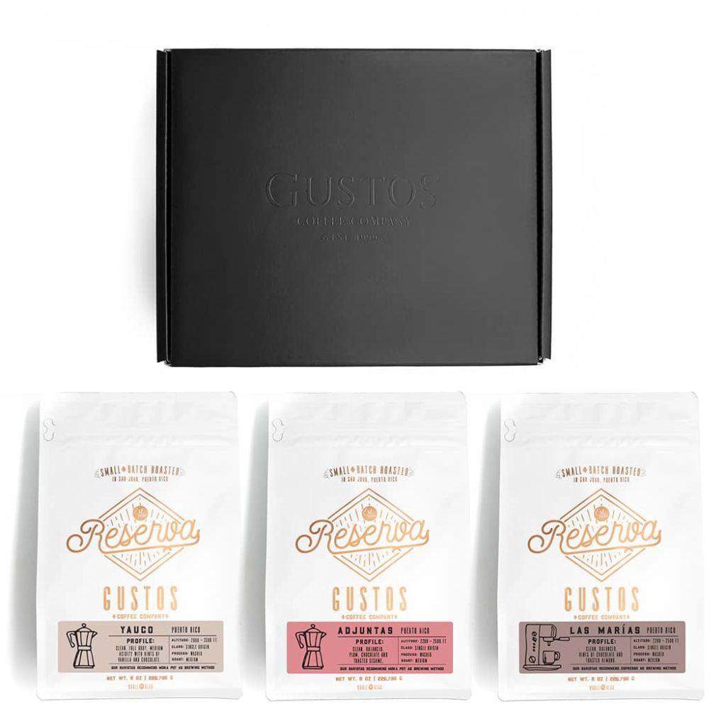 Specialty Puerto Rican Coffee Origin Trio Coffee Gift Set Bundle for brewing at home includes 8oz coffee bags from Yauco, Adjuntas, Las Marías Puerto Rico