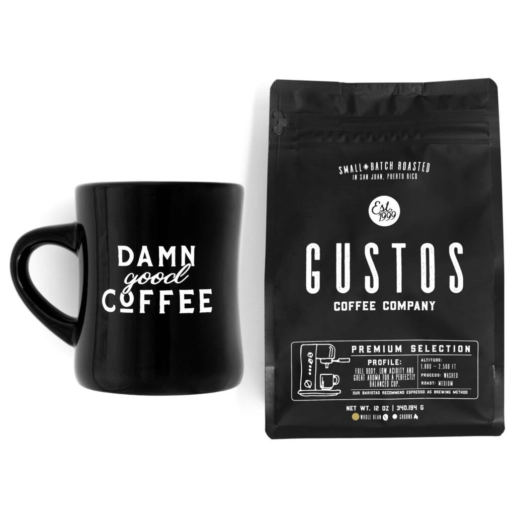 Damn Good Coffee from Puerto Rico Diner Mug Premium Gift Set Whole Bean Vatican Pope favorite