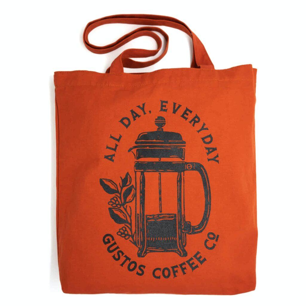 Gustos Coffee From Puerto Rico Merchandise Tote Sienna Terracotta Season 2020 SJ