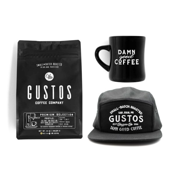 Damn Good Coffee from Puerto Rico Diner Mug and Hat Premium Gift Set Whole Bean