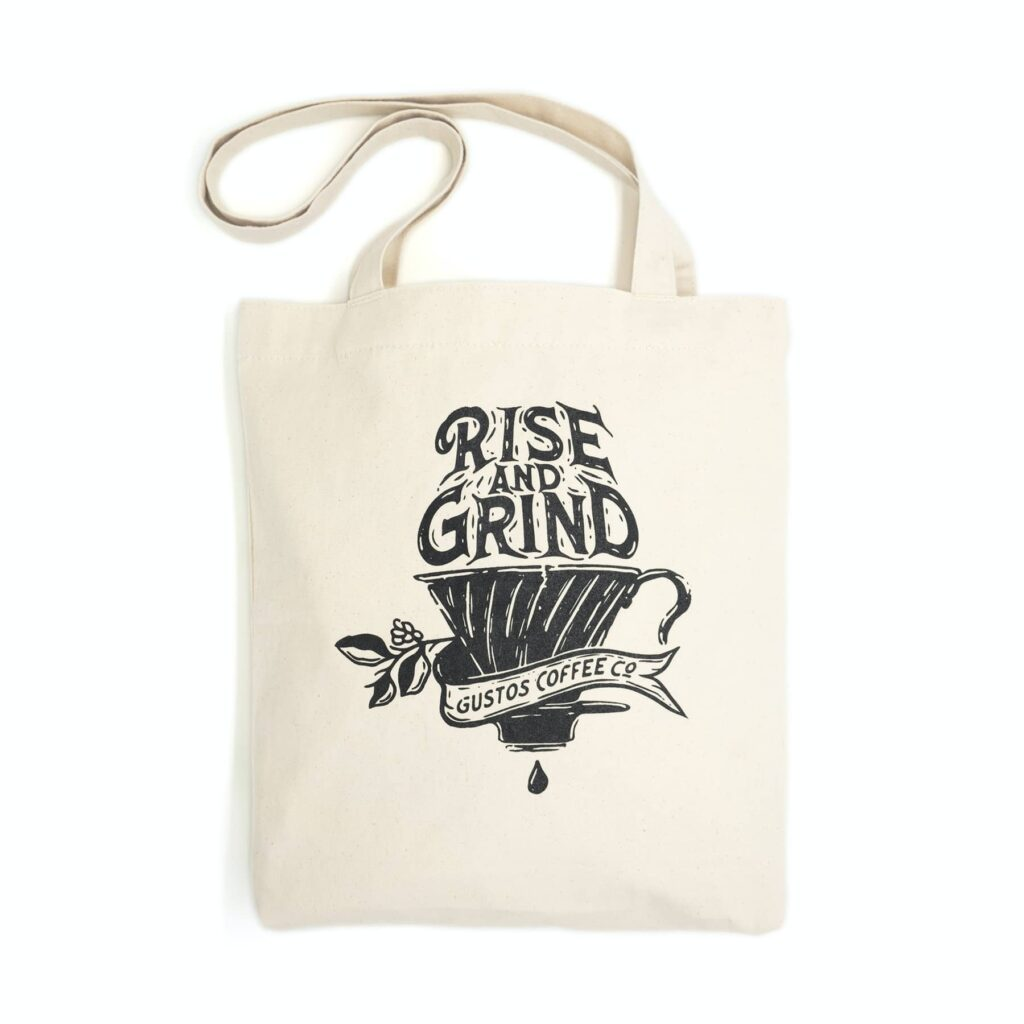 Gustos Coffee From Puerto Rico Merchandise Mini Tote Small Natural organic Cotton Season 2020 SJ